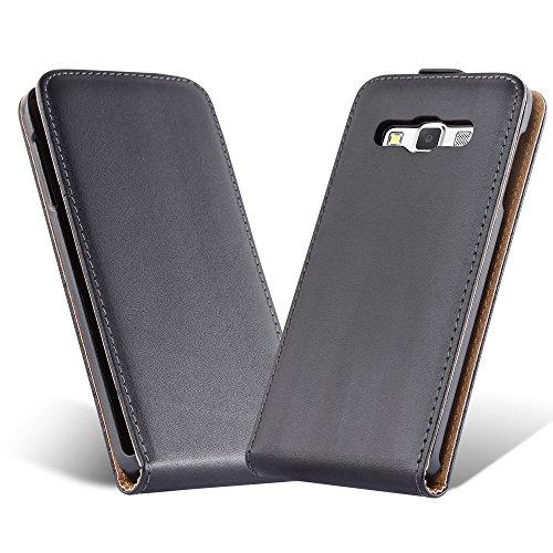 Cadorabo Case Works Samsung Galaxy A5 2015 (5) in Caviar Black (Design FLIP Smooth) 2 Card Slots – Case Etui Cover Pouch Flip