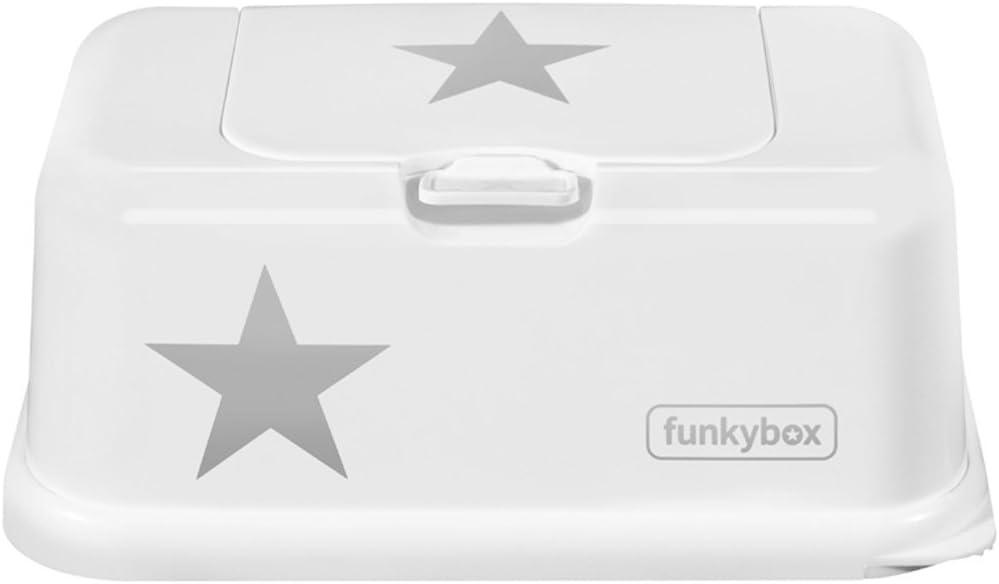 Funkybox Bo/îte de lingettes humides Blanc /Étoile Argent/é