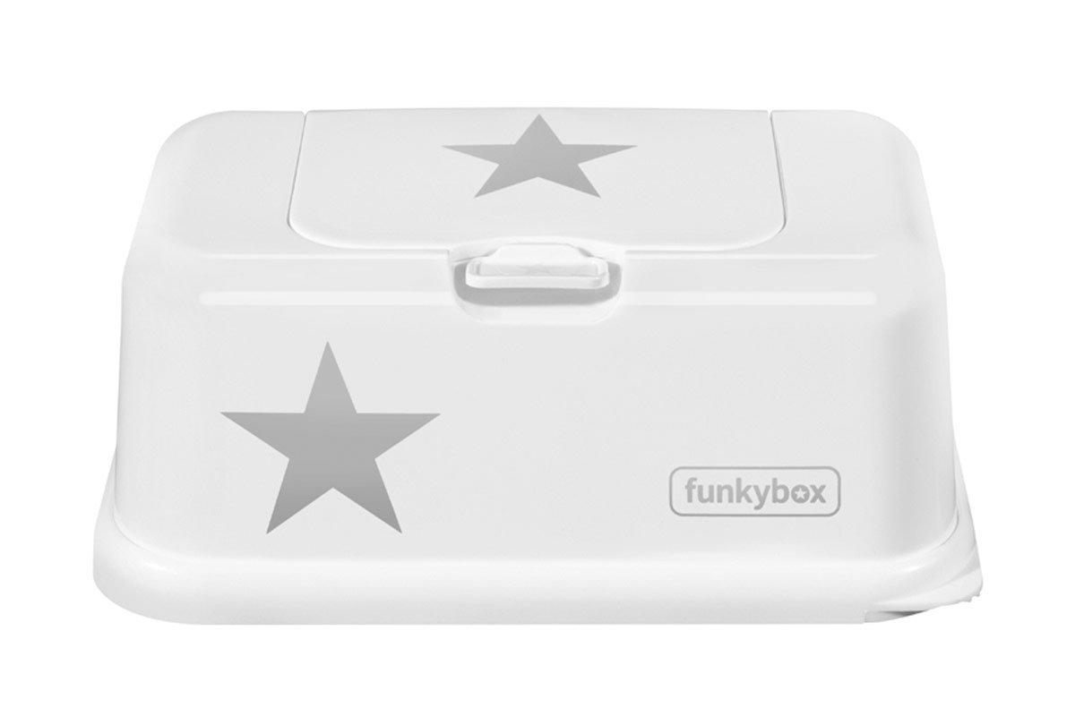 Funkybox Feuchtt/ücher Box wei/ß Stern silber