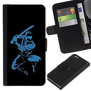 EJOY---La carpeta del tirón la caja de cuero de alta calidad de la PU Caso protector / Apple Iphone 6 / --Azul Ninja