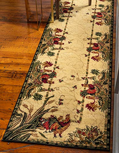 Unique Loom Barnyard Collection French Country Cottage Roosters Cream Runner Rug (2' 7 x 10' 0) (Runner Rooster)