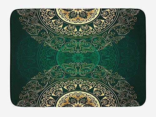Ustcyla Hunter Green Bath Mat, Retro Oriental Mandala Style Floral Circle Antique Arabesque Culture Swirls Pattern, Plush Bathroom Decor Mat with Non Slip Backing, 23.6 W X 15.7 W Inches, Gold