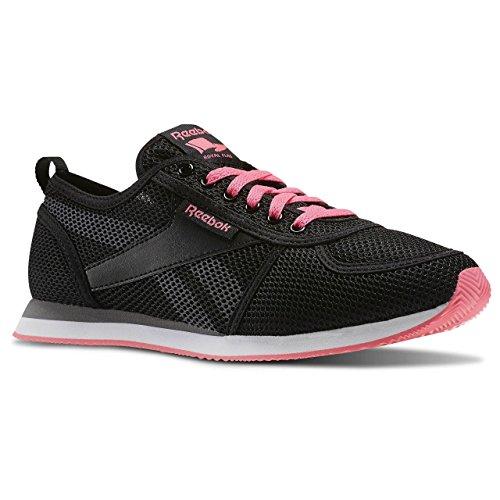 Reebok Royal CL JOG 2SE - Zapatillas de running, Mujer Negro / Gris / Rosa / Blanco (Black / Shark / Solar Pink / White)