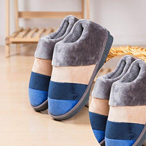 LaxBa Femmes Hommes Chaussures Slipper antiglisse à lintérieur mâle double 2Gris Bleu 44/45