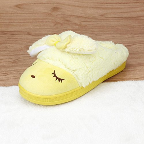 AMA(TM) Women Soft Warm Cotton Bowknot Indoor Home Slippers Anti-Slip Shoes Yellow ppF5Lmt