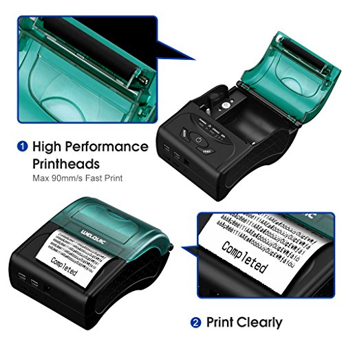 WELQUIC Portable Mini Wireless 58mm Bluetooth High Speed Direct Thermal Printer, Compatible with Android & IOS & Windows & Linux systems and ESC / POS Print Commands Set by WELQUIC (Image #3)