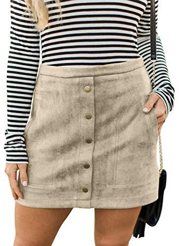 Combination Leather Halter - Meyeeka Faux Suede Clubwear for Women Retro High Waist Button Front Stretch Mini Skirt M Beige