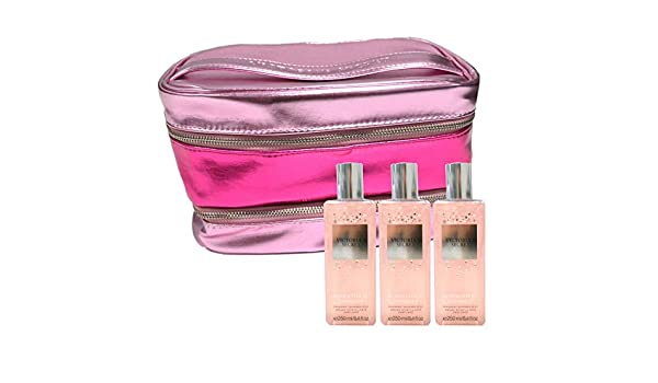 Victorias Secret Bombshell Shimmer Set de regalo de neblina y estuche de tren, bolsa de cosméticos, combo de 4 piezas: Amazon.es: Belleza