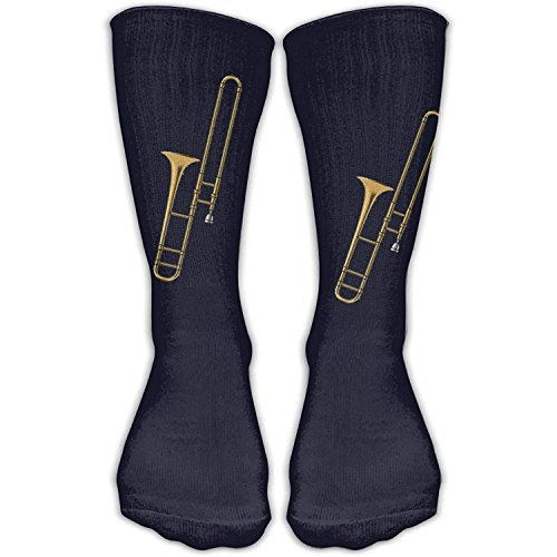 Knee High Trombone Music Instruments Novelty Athletic Crew Funny Tube Work Out Stockings With One Size Long: 19.6inch,50cm one size