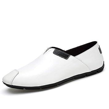 FuweiEncore Zapatillas Mocasines para Hombres, Mocasines de conducción de Moda para Hombres, cómodos Mocasines cómodos, Zapatos livianos (Color: Blanco, ...