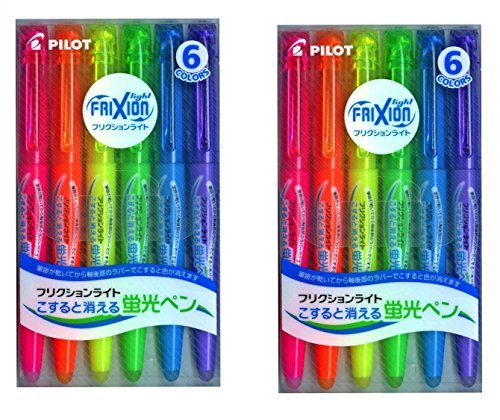 Pilot Frixion Light Fluorescent Ink Erasable Highlighter Pen (Pink / Orange / Yellow / Green / Blue / Violet) (Japan Import) 2 (Promotional Highlighter)