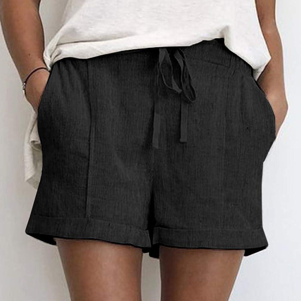 Pantalones Cortos Casuales de algodón y Lino para Mujer Shorts con ...