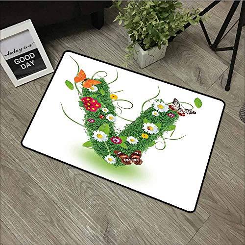 Crystal Velvet Doormat,Letter V Lively Bouquet of Flourishing Daisies Green Swirls Nature Spring Butterflies,All Season Universal,24