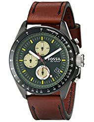 Fossil Men's Decker CH2920 Brown Leather Quartz Watch with Green Dial