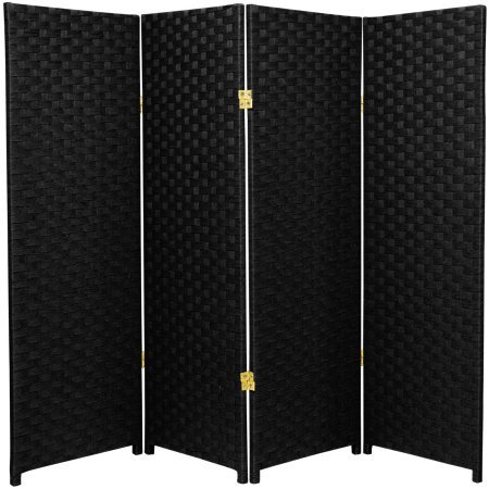 Living Room Divider, Stylistic,Woven Fiber, 4-Panel,Black by By Home Design