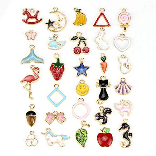 (30pcs Assorted Gold Plated Enamel Animals Fruit Moon Star Unicorn Charm Pendant - Dainty Dangle Crafting Accessories for Necklace Bracelet Ankle Earring Jewelry DIY Making Charms)