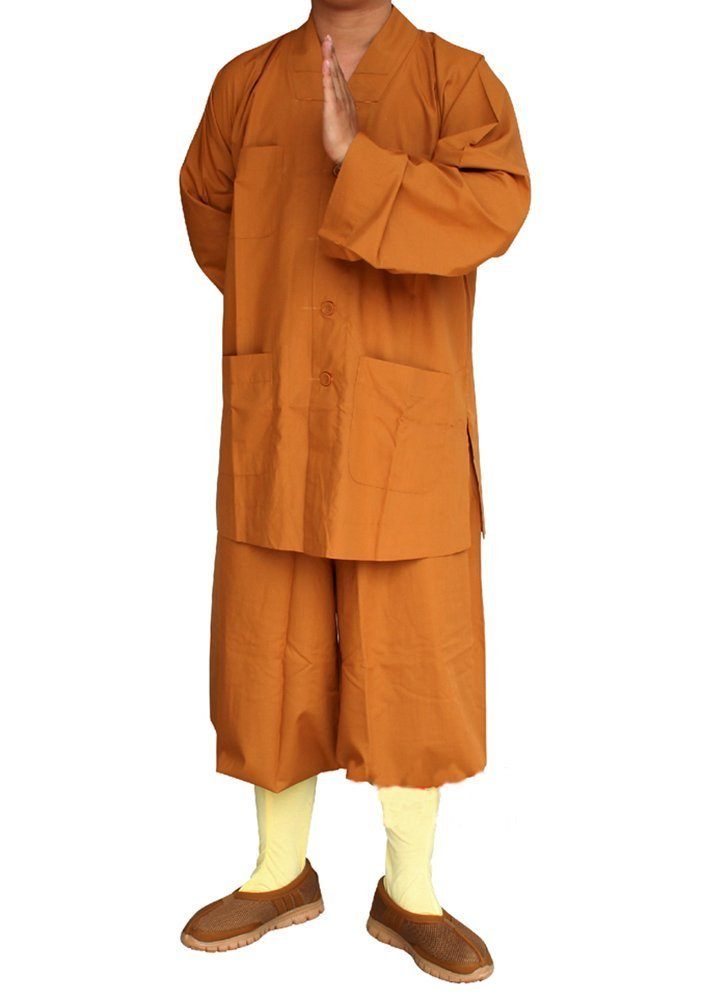 ZooBoo Men's Traditional Shaolin Kung Fu Robe Meditation Long Gown Suit (Earth Yellow, L/175) by ZooBoo
