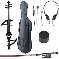 Cecilio CECO-4BK Ebony Fitted Silent Electric Cello, Style 4, Metallic Black, 4/4 (Full Size)