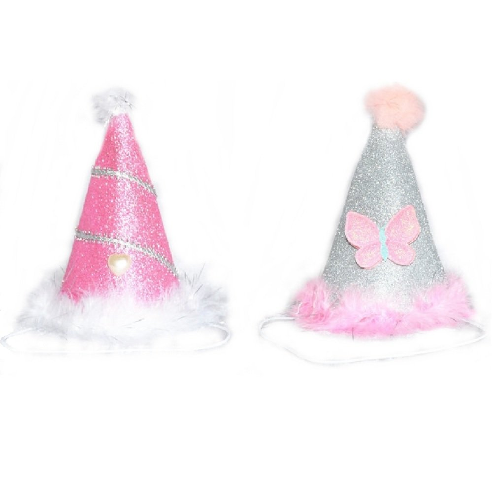 Stock Show 2Pcs Dog Cat Birthday Hat Holiday Party Hat Headwear Costume Accessory with BlingBling Pink Sliver Color Butterfly and White Ball and Soft Feathery Trim for Small Medium Dogs Cats Pets