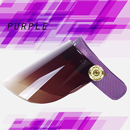 Women Anti-UV Visor Hat UPF40+ Solar Full Face Plastic Shield Headband Sun Protection Riding Cap (Purple)