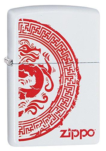 Zippo Dragon Stamp White Matte Pocket Lighter