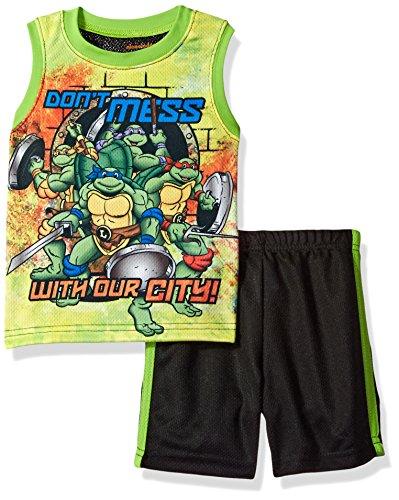 Nickelodeon Boys' Toddler Teenage Mutant Ninja Turtle Tank with Short Set, Green, 2T ()