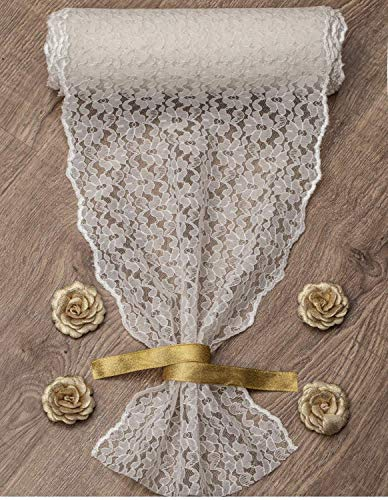 12-inch X 16 Yards Embroidered Lace Table Runner by Feminen | Boho Vintage Classy Table Runner Design ● Durable Restaurants Hotel and Wedding Receptions Décor ● Bonus: 4 Flowers & ()