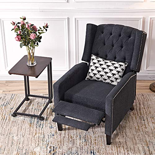 (Push Back Fabric Recliner Roll Arm Buttoned Club Chair Chrome Nail Studded Accent Living Room Armchair Upholstered Polyester Single Sofa Wooden Leg (Dark Grey))
