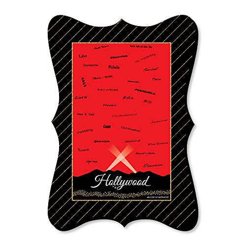 Big Dot of Happiness Red Carpet Hollywood - Unique Alternative Guest Book - Movie Night Party Signature Mat