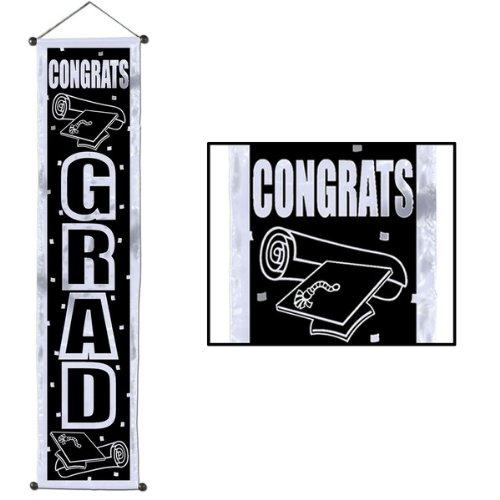 Grad Streamer (Congrats Grad Velvet-Lam� Door Panel Party Accessory (1 count) (1/Pkg))