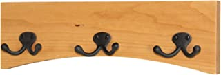 """product image for PegandRail Solid Cherry Arched Wall Mounted Coat Rack Double Bronze Hooks - Made in The USA (Natural Cherry, 15"""" x 4.5"""" - 3 Hooks)"""