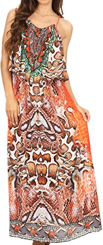Sakkas P25 - Itika Sleeveless Printed Overlay Maxi Dress | Cover Up With Ruched Neckline - 17010-Multi - (Sleeveless Lounger)