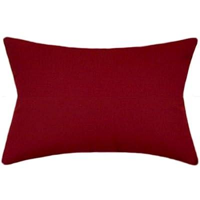 TPO Design Sunbrella Burgundy Indoor/Outdoor Solid Patio Pillow 12x18 Rectangle: Home & Kitchen