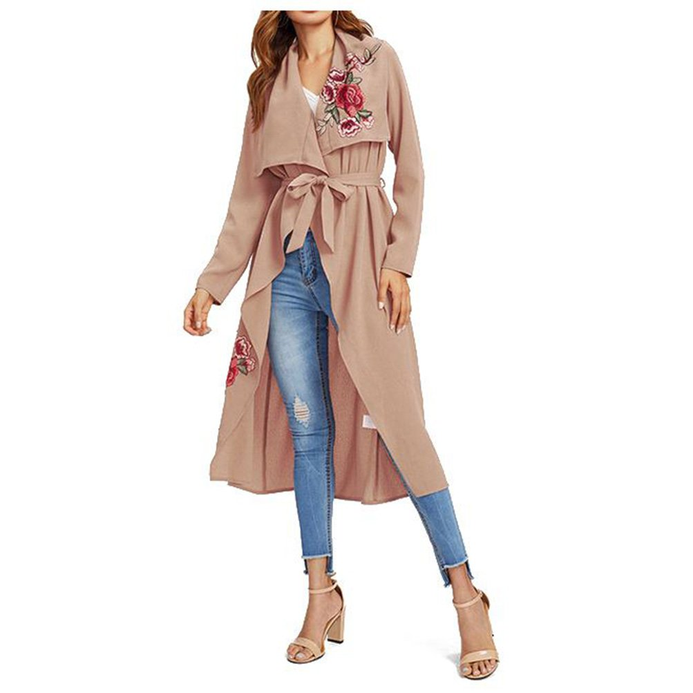 Hat11 Fashion 2018 Autumn Spring Embroidery Floral Pink Long Trench Coat Women Overcoat Casual Outerwear Belt Coats Female Windbreaker