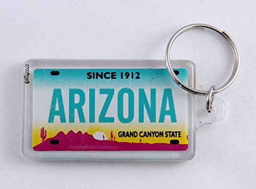 Arizona State License Plate Acrylic Rectangular Souvenir Keychain 2.25