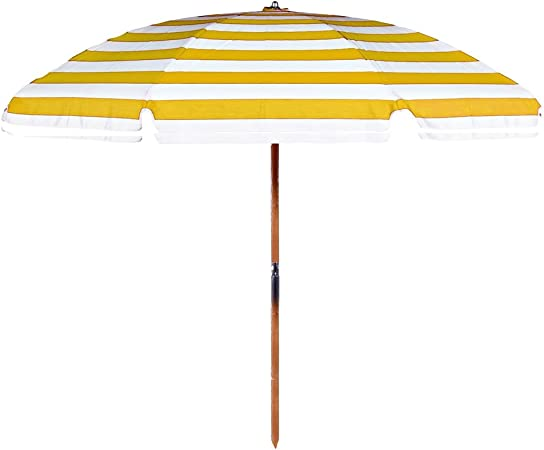 7.5 ft Wood Beach Umbrella with Beach Blue Cover White Trim