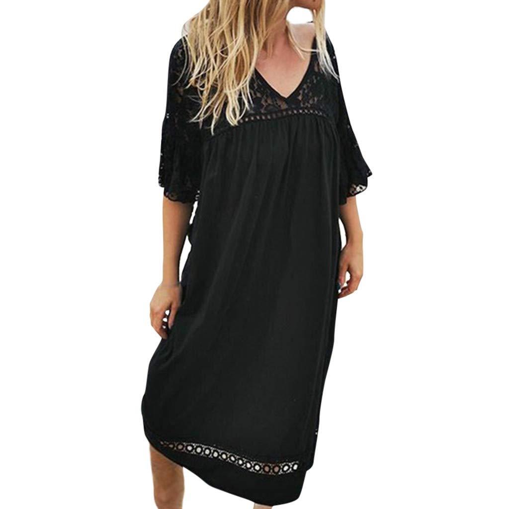 Clearence!! Women's Summer Casual Solid Lace Hollow Dresses SengeiMaxi Beach Dress S-3XL (S, Black) by Sengei