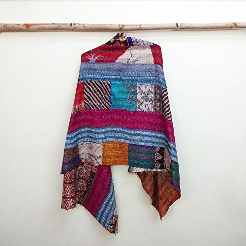 Silk Kantha Scarf Neck Wrap Stole patchwork Hijab Scarves Reversible Sew Long