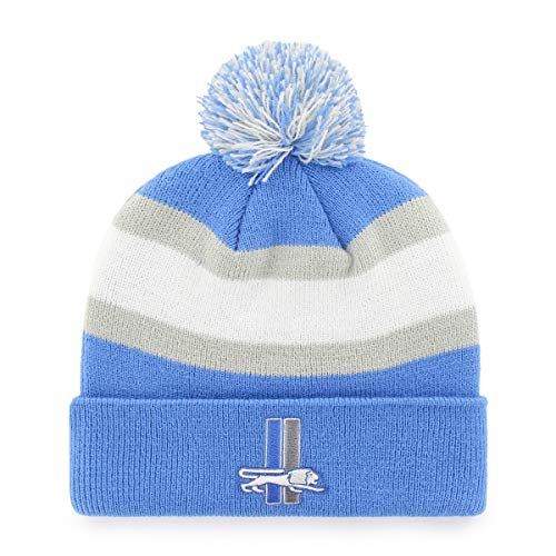 OTS NFL Detroit Lions Male Rush Down Legacy Cuff Knit Cap with Pom, Blue Raz, One Size