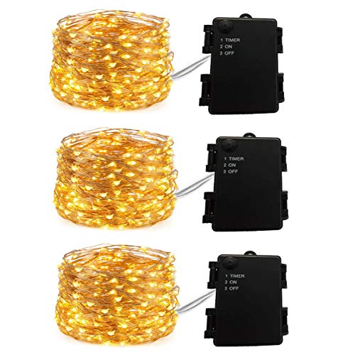DUKORA 3 Pack Firefly Lights Battery Operated 20ft 60 LEDs Fairy Lights Copper Wire Lights Christmas Decor Lights Outdoor Battery Box for DIY Wedding Centerpiece Warm White