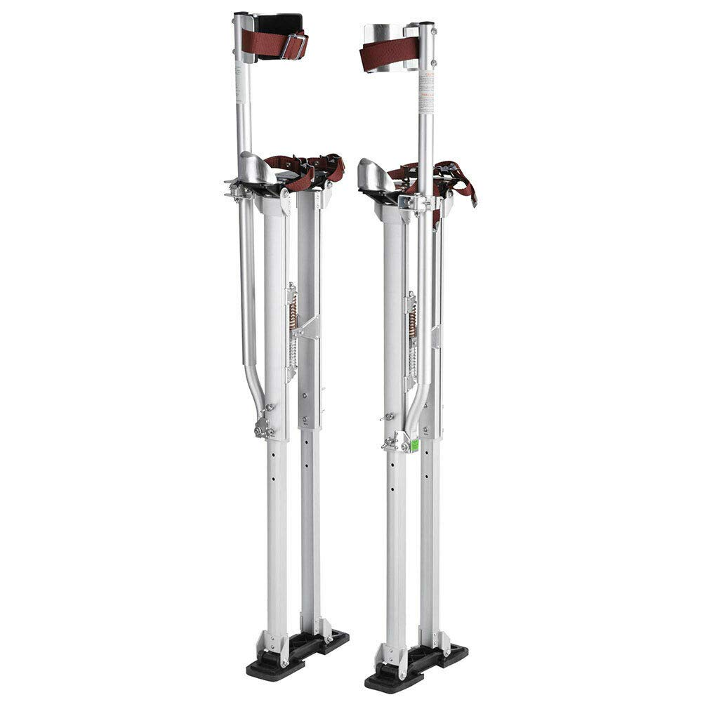 Adjustable Gray Aluminum Drywall Stilts Painters Walking Tool Painting Taping w/Capacity 225 Lbs & Height 36'' - 50'' with Ebook