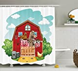 Ambesonne Cartoon Decor Collection, Happy Farm Animals Living in Barnhouse Chicken Pig Horse Domestic Rural Artistic Print, Polyester Fabric Bathroom Shower Curtain Set with Hooks, Green Red