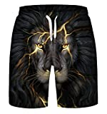 ENLACHIC Men's 3D Galaxy Print Casual Rave Flat Front Shorts Trunks Boardshort,3D Lion,L/XL