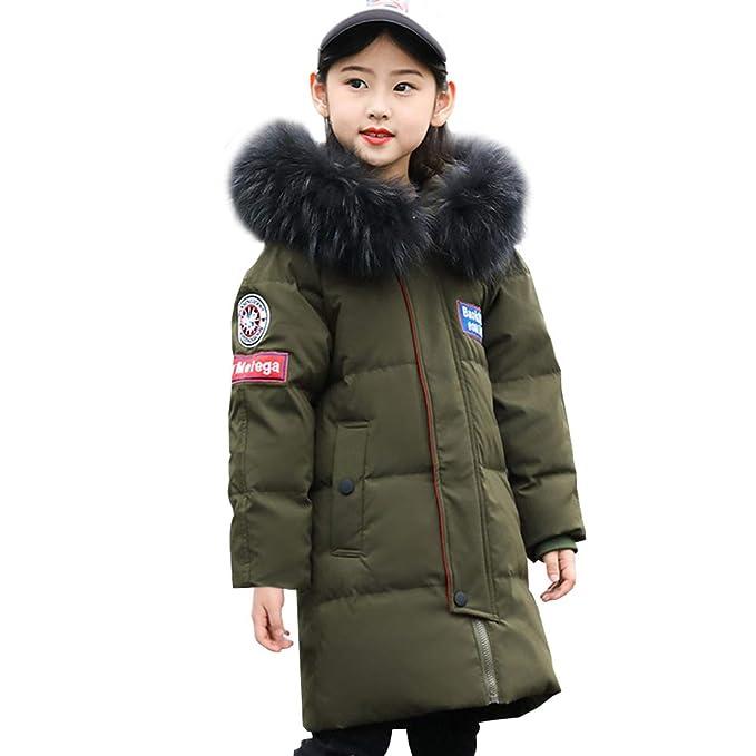 Kids Boys Fur Hooded Puffer Duck Down Jacket Winter Warm Long Parka Coat Outwear