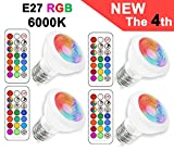 E27 LED RGBW Spot Light with remote control | 3w led downlight |Daylight White (6000 Kelvin) | MR16 E27 Colour Changing Bulb|Replacement for 20W Halogen Spot| Dimmable LED Light Bulbs with RGB |Recessed Lighting|Track Lighting (4 Pack E27 RGB+6000K)