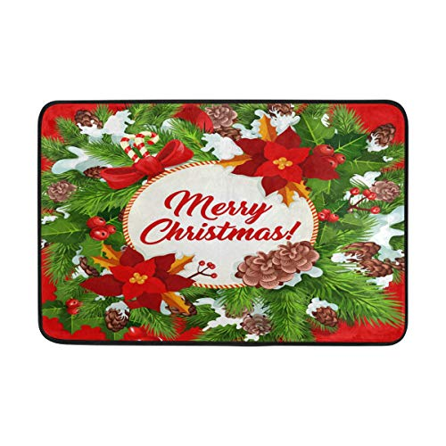 Christmas Gift Snowflake Candy Ball Outdoor Door Mats Shoes Scraper 23.6x15.7 inch Front Entrance Outside Ribbon Bow Snow Poinsettia Doormat Patio Rug Dirt Debris Mud Trapper Mat