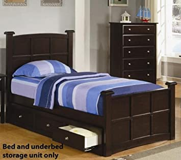 Youth Full Size Bed with Under Bed Drawers in Rich Cappuccino Finish. Amazon com  Youth Full Size Bed with Under Bed Drawers in Rich