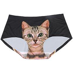 Women's Sexy Seamless 3D Cat Print Underwear Comfort Soft Briefs Panty Lingerie - Black