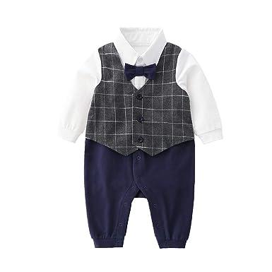 ef001eede4b37 Newborn Baby Boys Gentleman Romper with Tuxedo Tie and Vest,Toddler Infant  Long Sleeves Jumpsuit