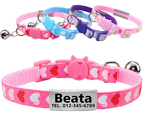 (Taglory Breakaway Cat Collar with Bell, Personalized Collars for Cats with Tags Engraved Name and Number, Adorable Heart Necklace for Kittens Puppy Dogs, Hotpink)